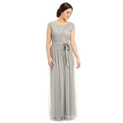 Ariella London Silver grey greta embellished top long dress - . -