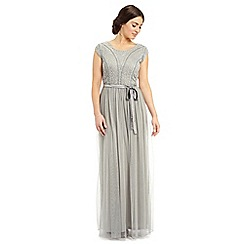 Ariella London - Silver grey greta embellished top long dress