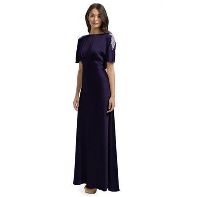 Ariella London Purple Anelia Satin Back Crepe Long Dress - . -