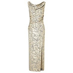 Ariella London - Gold 'Cecily' foil printed jersey maxi dress