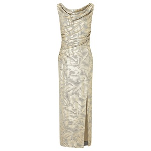 Ariella London Gold 'Cecily' foil printed jersey maxi dress