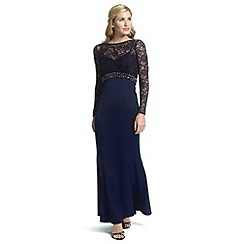 Ariella London - Navy sloane maxi dress with lace sleeves
