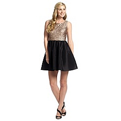 Ariella London - Black gold leonie sequin prom dress