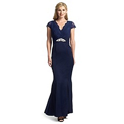 Ariella London - Navy renata maxi dress with lace and chiffon