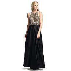 Ariella London - Black gold ziana full skirt dress with embellished