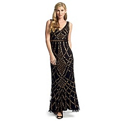 Ariella London - Black nude nahla full length beaded evening gown