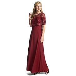 Ariella London - Merlot theodora maxi dress with lace top & sleeves