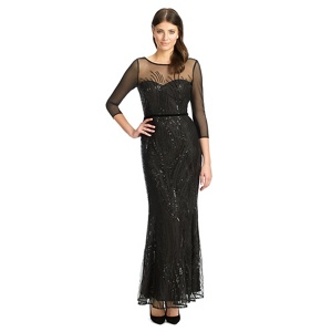 Ariella London Black sequined 'Amia' evening dress