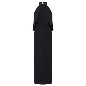 Ariella London Black 'Riva' beaded halter overlay column maxi dress