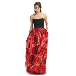 Ariella London Red rose print organza 'Echo' strapless dress