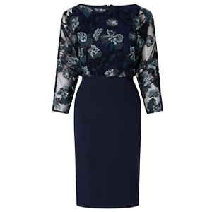 Ariella London Navy 'Lani' embroidered batwing shift dress