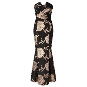 Ariella London Black 'Elenora' strapless jacquard fishtail maxi dress