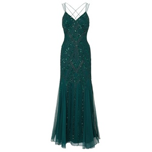 Ariella London Emerald 'Perla' maxi embellished dress