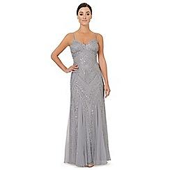 Ariella London - Silver embellished 'Perla' evening dress