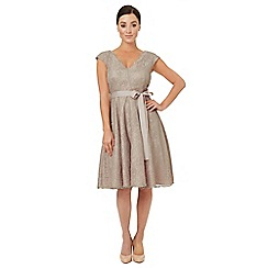 Ariella London - Pale grey lace 'Faye' fit and flare dress