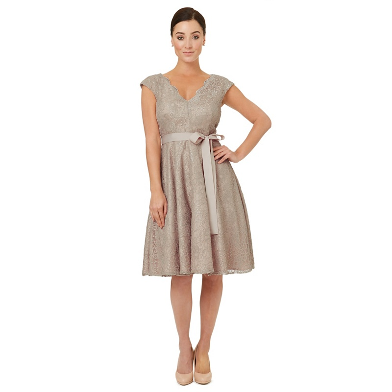 Ariella London Pale grey lace 'Faye' fit and flare dress