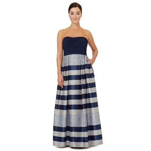 Ariella London Dark blue jacquard 'Vince' strapless dress
