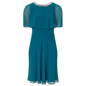 Ariella London Teal 'Harmony' chiffon fit and flare dress