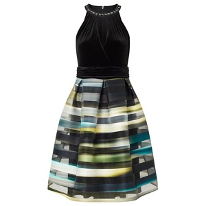 Ariella London Green 'Sia' striped organza prom dress