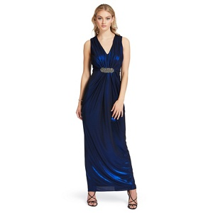 Ariella London Blue 'Clara' metallic foil maxi dress