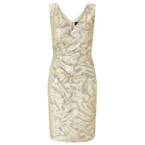 Ariella London Gold 'Dolce' foil printed jersey wrap dress