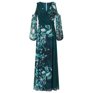 Ariella London Teal 'Aliana' printed cold shoulder dress