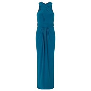Ariella London Teal 'Amberley' halter jersey maxi dress