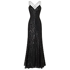 Ariella London - Black 'Caia' triple strap sequin maxi dress
