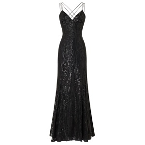 Ariella London Black 'Caia' triple strap sequin maxi dress