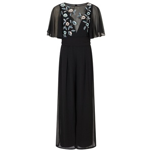 Ariella London Black 'Taja' beaded chiffon jumpsuit