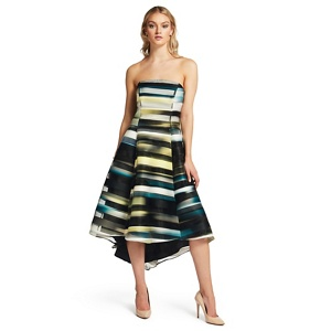 Ariella London Green 'Arden' strapless stripe high low dress
