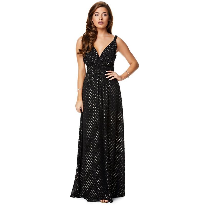 fc8828bdbaa5 Ariella London Black Gold 'Silan' Foil Spot Chiffon Maxi Dress, Women's,  Dresses