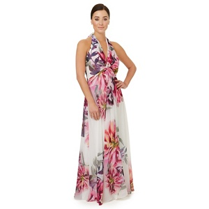 Ariella London Multicoloured print 'Benedict' halter neck evening dress