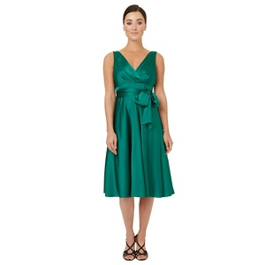 Ariella London Dark green satin 'Belladonna' fit and flare dress