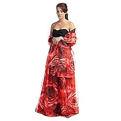 Ariella London - Red rose print organza 'Ara' stole