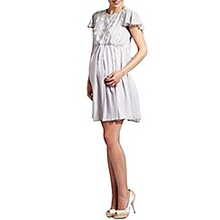 Rock-a-Bye Rosie - Grey flower trim maternity dress