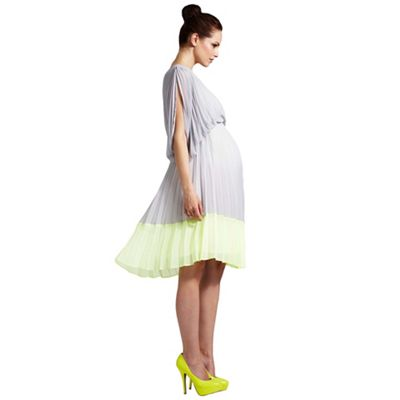 c254acbd1c Rock-a-Bye Rosie Grey sunray pleated one shoulder maternity dress