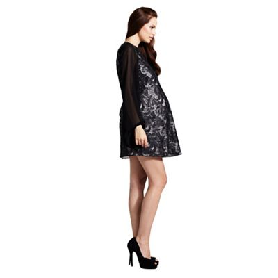 Rock-a-Bye Rosie Black and pink pu sequin shift maternity