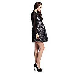 Rock-a-Bye Rosie - Black and pink pu sequin shift maternity dress