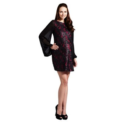 Rock-a-Bye Rosie Black and white pu sequin shift maternity dress - . -