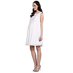 Rock-a-Bye Rosie - Cream sunray pleated maternity dress