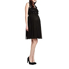 Rock-a-Bye Rosie - Black floral cotton bodice maternity dress