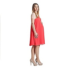 Rock-a-Bye Rosie - Coral colour block chiffon swing dress demi