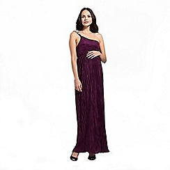 Rock-a-Bye Rosie - Plum one shoulder shimmer pleat maxi