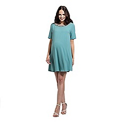 Rock-a-Bye Rosie - Blue beautiful neck trim swing dress