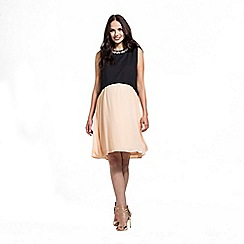 Rock-a-Bye Rosie - Black/apricot colour block trim dress