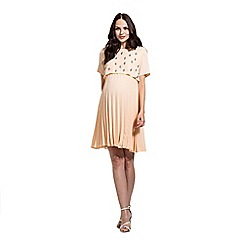 Rock-a-Bye Rosie - Nude sunray pleated skirt dress