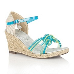 Lotus - Blue multi 'Sancho' wedge sandals