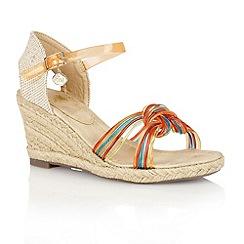 Lotus - Orange multi 'Sancho' wedge sandals