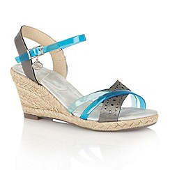 Lotus - Pewter blue 'Arashi' wedge sandals